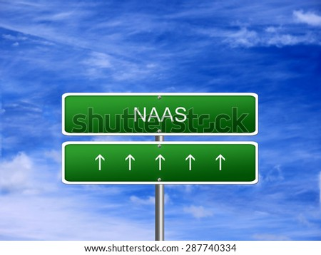 Naas city Ireland tourism Eire welcome icon sign. - stock photo
