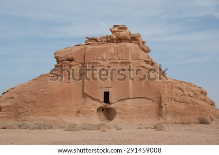 Nabatean tomb in Madain Saleh archeological site, Saudi Arabia. - stock photo