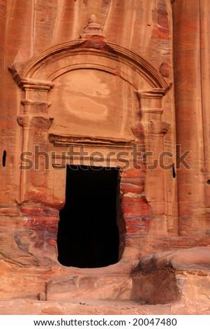 Nabatean tomb in Petra, Jordan - stock photo