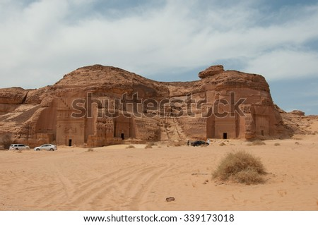 Nabatean tombs in Mada�®n Saleh archeological site, Saudi Arabia. - stock photo