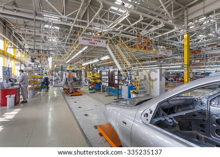 Naberezhnye Chelny, Tatarstan, Russia - March 19: Car Assembly Line in Automobile Factory SOLLERS in Automobile Plant KAMAZ, on March 19, 2009 in Naberezhnye Chelny