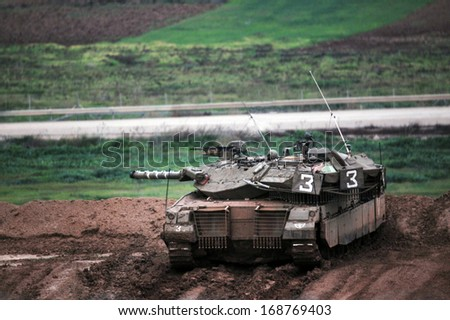 NACHAL OZ, ISR - DEC 26:Israeli tank during the final preparation of the IDF for a possible land incursion into Gaza strip  during cast lead operation on December 26, 2008.