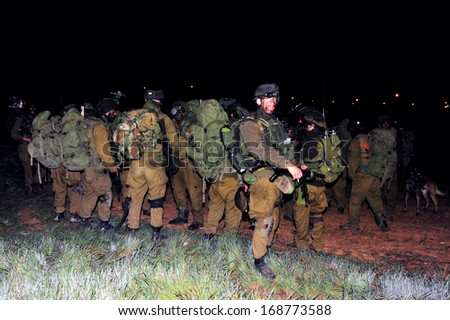 NACHAL OZ, ISR - JAN 03:Israeli soldiers during the  first land incursion into Gaza strip  during cast lead operation on Jan 03 2009.