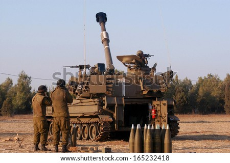 NACHAL OZ , ISR - JULY 01:Israeli artillery M109 howitzer on July 01 2006.It's the most common Western indirect-fire support weapon of maneuver brigades of armored and mechanized infantry divisions. - stock photo