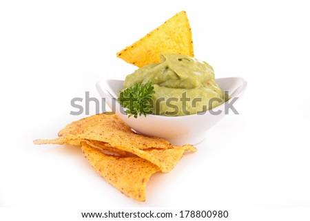 nacho and guacamole - stock photo