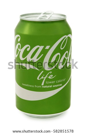 Nachod, Czech Republic February 15 2017: photo of Coca-Cola life bottle can on White Background. Coca-Cola Company