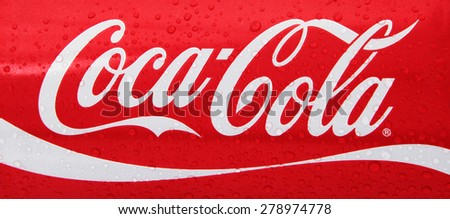 Nachod, Czech Republic May 15 2015: photo of Classic Coca-Cola - stock photo