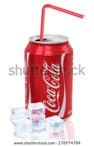 Nachod, Czech Republic May 15 2015: photo of Classic Coca-Cola can on White Background. Coca-Cola Company - stock photo
