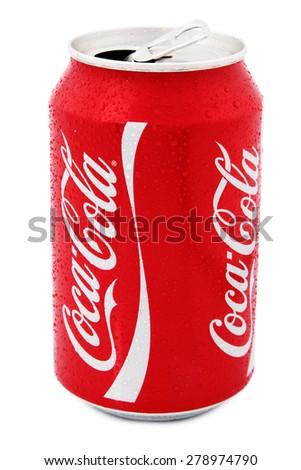 Nachod, Czech Republic May 15 2015: photo of Classic Coca-Cola can on White Background. Coca-Cola Company - stock photo