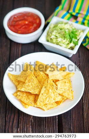nachos and sauces