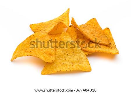 Nachos chips, isolated on white background. - stock photo