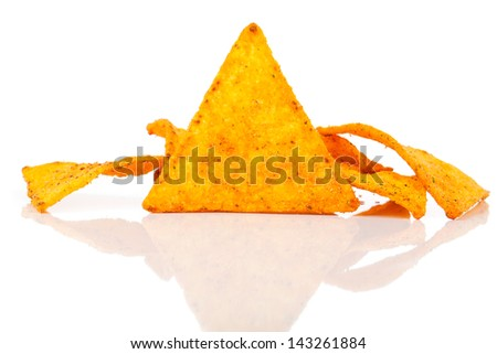 Nachos corn chips with fresh salsa isolated on white - stock photo