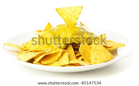 nachos plate isolated on a white background - stock photo