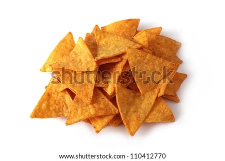 nachos stack isolated on white background - stock photo