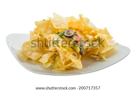 Nachos with chili pepper and olives