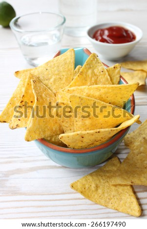 nachos with hot salsa - stock photo