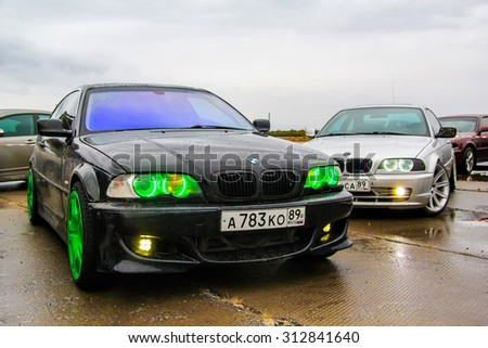 NADYM, RUSSIA - AUGUST 29, 2015: Drift cars BMW E46 3-series at the city street. - stock photo