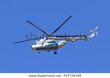 NADYM, RUSSIA - JULY 25, 2016: The MI-8MTB-1 RA-25544 helicopter of airline Yamal in flight