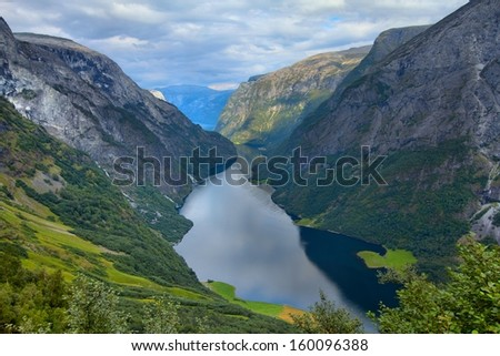 Naeroyfjord - famous UNESCO World Heritage Site in Norway. Beautiful fiord landscape in Sogn og Fjordane region.