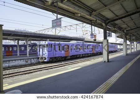 NAGASAKI, JAPAN - JAN 16: Japan Kyushu train, Seaside Liner at Nagasaki Station on January 16, 2016.