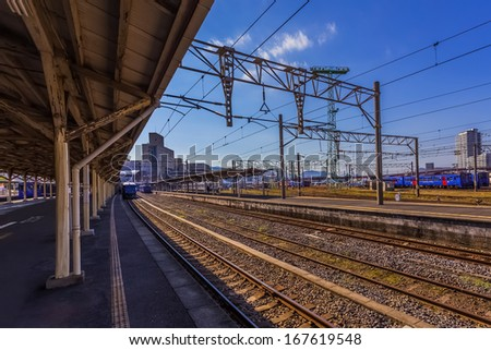 NAGASAKI, JAPAN - NOVEMBER 14: Nagasaki Station in Nagasaki, Japan on November 14, 2013. Opened on April 5, 1905, when the railway was extended from the former station (which is now called Urakami)