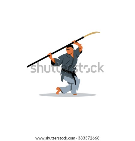 Naginatajutsu Japanese Samurai martial arts master with Naginata. The athlete with a spear performs Kato. Branding Identity Corporate Logo isolated on a white background