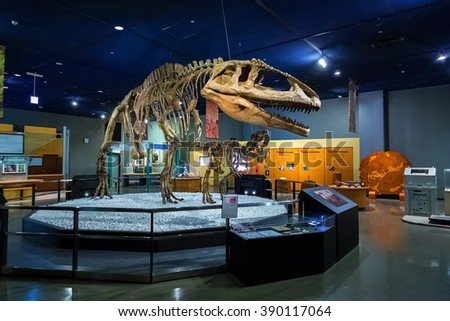 NAGOYA, JAPAN - NOVEMBER 18, 2015: Dinosaur skeletons displayed at the first floor of Nagoya City Science Museum, the exhibition room is one of the most important highlights of the museum - stock photo
