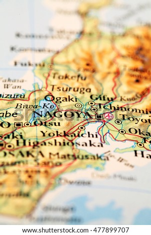 Nagoya Japan, on atlas world map