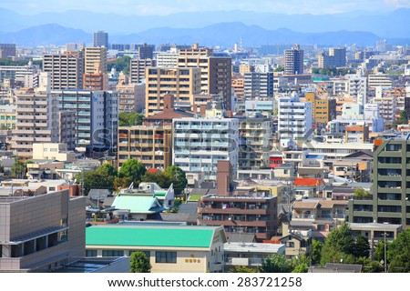 NAGOYA, JAPAN -SEPTEMBER 13: Nagoya cityscape on September 13, 2014,Greater Nagoya is  is the hub of Japanese manufacturing industries, producing over 40% of manufacturing goods Nagoya city