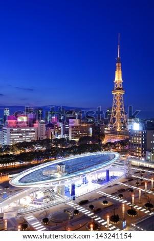 Nagoya, Japan skyline at the downtown Sakae District. - stock photo