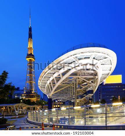 Nagoya landmark, Japan city skyline with Nagoya Tower at night - stock photo