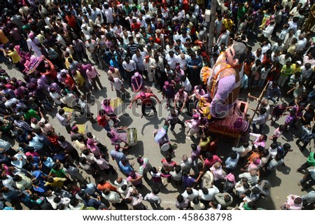 NAGPUR, MS, INDIA - SEPT 6: procession of Marbat festival is celebrated to protect the city from evil spirits and they make statues of evil forces on Sept 6, 2013 in Nagpur, Maharashtra, India.