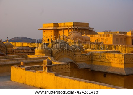 Nahagarh Fort overlooking the pink city of Jaipur in the Indian state of Rajasthan - stock photo