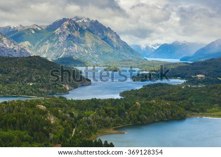 Nahuel Huapi national park from Cerro Campanario near Bariloche (Argentina) - stock photo