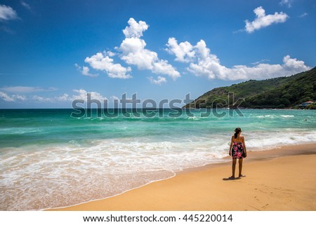 Nai Harn beach, Thailand - June 5th 2016 - Tourist and locals enjoying a amazing tropical beach in Nai Harn, southern of Phuket in Thailand, Asia.