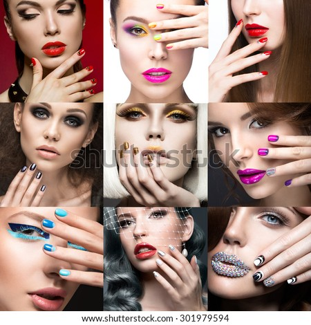 Nail Art Collection. Beauty face. Beautiful girls modeli.  Collage. - stock photo