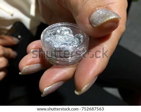 Nail art designs silver glittery accent stock photo 752687563 nail art designs silver glittery accent silver sparkle nail art idea stunning glitter prinsesfo Choice Image
