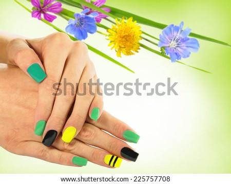 Nail art . Nail designs and copy space - stock photo