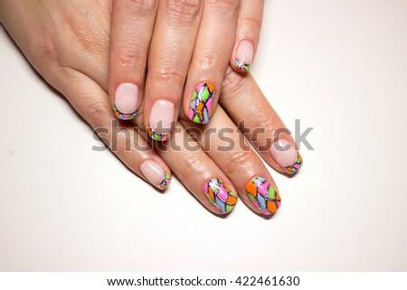 nail art tile - stock photo