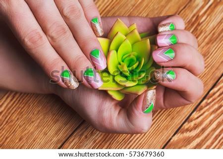 Nail Art Bright Gold Pink Green Stock Photo Edit Now 573679360