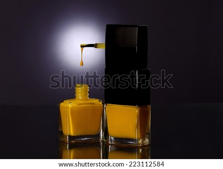 Nail color yellow - stock photo