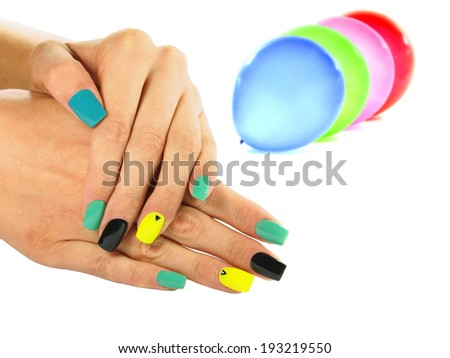 Nail design, UV gel nail polish - stock photo