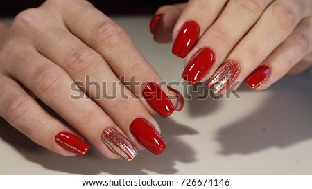 Nail designs with different sequins on red nails for - Nail Designs Different Sequins On Red Stock Photo (Edit Now