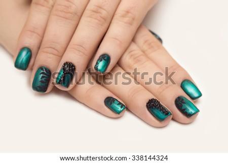 nail green - stock photo
