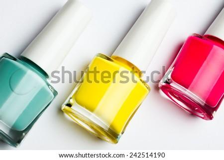 Nail Polish Closeup isolated on the white background - stock photo