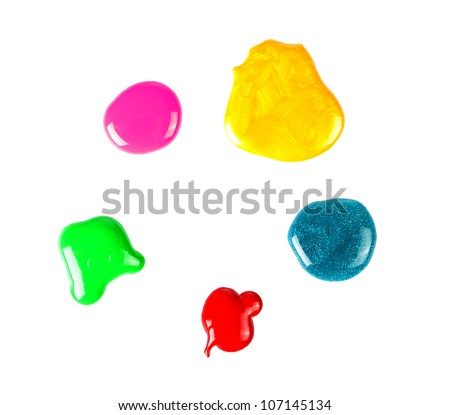 Nail polish drops set isolated on white - stock photo