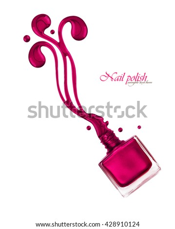 Nail polish flowing from the bottle - stock photo