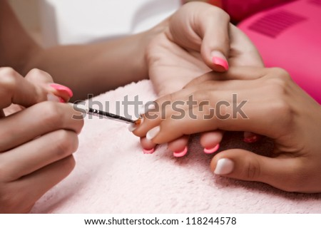 Nail polish in a beauty salon