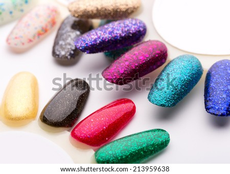 Nail polish in different fashion colors - stock photo