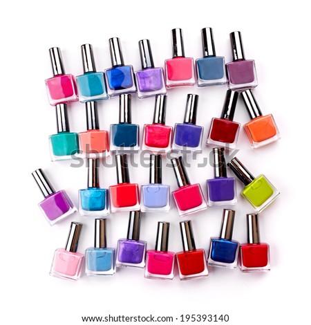 Nail polish isolated on white background - stock photo